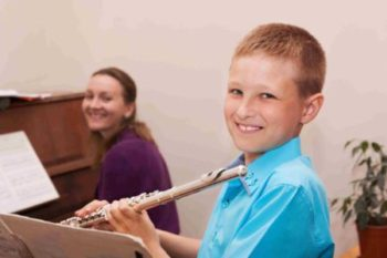 flute student with teacher