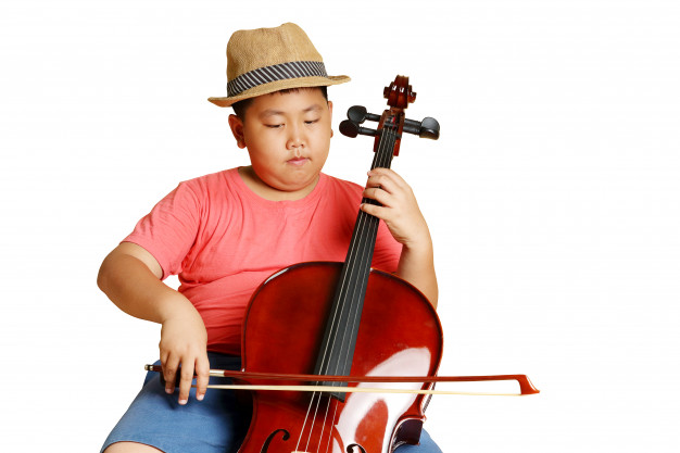 Boy playing cello